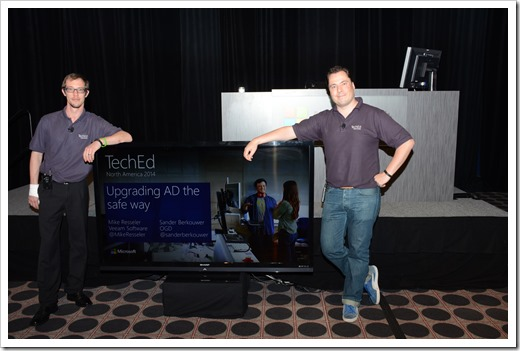 Mike and me standing posing with our title slide mere moments for the session (click for larger size)