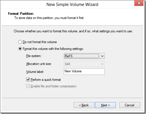 New Simple Volume Wizard with ReFS selected for the file system