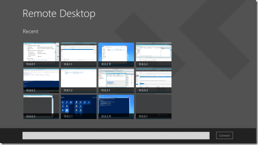 Windows 8 Remote Desktop App Main Screen (click for original screenshot)