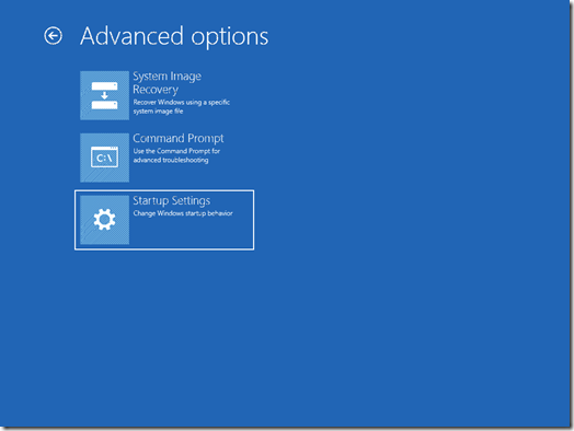 The Advanced options screen (click for original screenshot)