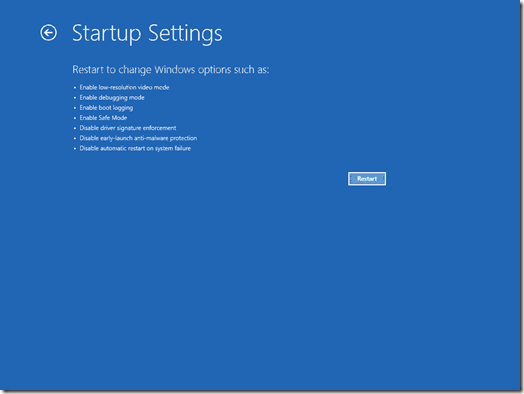 The Startup Settings screen (Click for original screenshot)