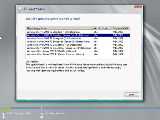 Install windows server 2008 r2.