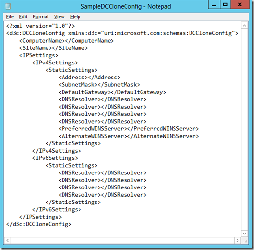 The contents of SampleDCCloneConfig.xml (click for larger screenshot)
