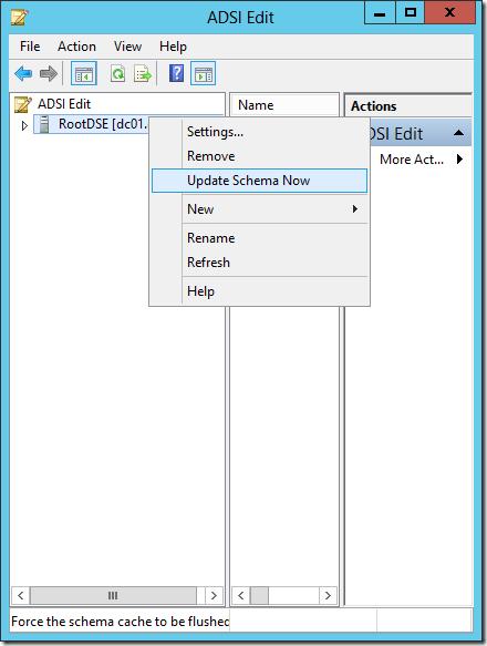 Update Schema Now command in AdsiEdit.msc