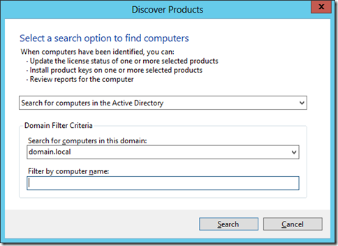Discovery Options in the Volume Activation Management Tool (click for larger screenshot)