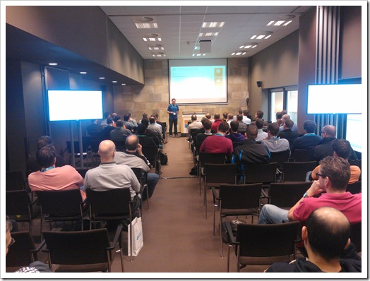 Delivering my session on Virtualization Safe(r) Active Directory and Domain Controller Cloning at TechDays 2013 (Picture by Tony Krijnen)