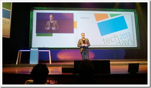 Tony Krijnen delivering the IT Pro Keynote featuring David Chapell at TechDays 2013