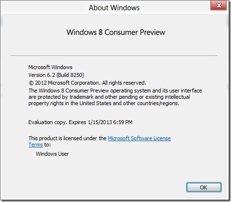 Winver.exe on Windows 8 Consumer Preview (actual size)