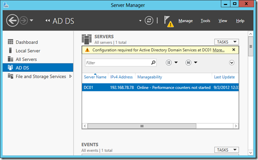 Starting configuration for Active Directory Domain Services (click for a larger screenshot)