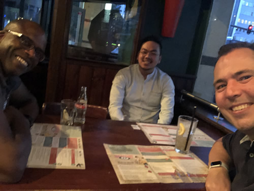 Raymond, Huy and I at Mad Mick's BreakAway Cafe in Rotterdam, the Netherlands