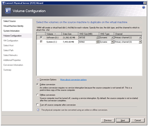 Conversion Options on the Volume Configuration page of the P2V Wizard in System Center Virtual Machine Manager 2008 (click for original screenshot)