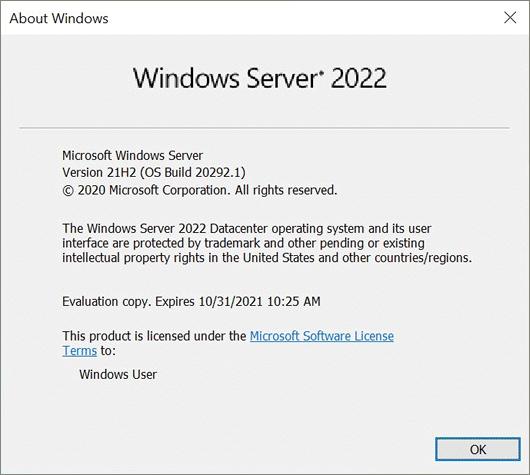 Windows Server 2022 versioning information