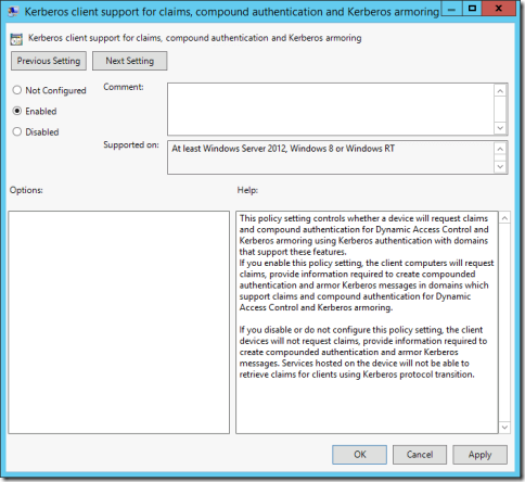 The Kerberos client support for claims, compound authentication and Kerberos armoring Group Policy setting (click for original screenshot)