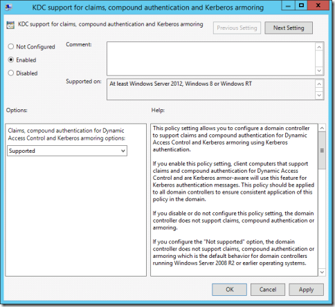 The KDC support for claims, compound authentication and Kerberos armoring group policy setting (click for original screenshot)