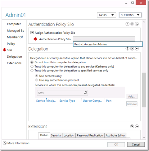 Assign an Authentication Policy Silo to a computer object in the Active Directory Administrative Center (click for original screenshot)