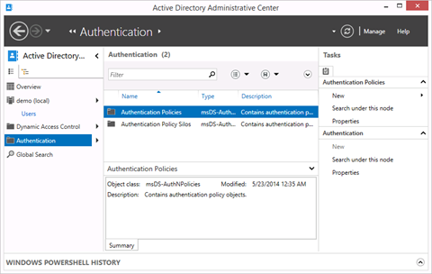 Authentication Policies and Authentication Policy Silos in the Active Directory Administrative Center (click for original screenshot)