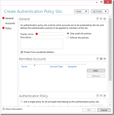 Create an Authentication Policy Silo in the Active Directory Administrative Center (click for original screenshot)