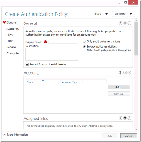 Create an Authentication Policy in the Active Directory Administrative Center (click for original screenshot)