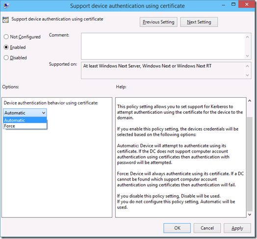 The Support Device Authentication using Certificate Group Policy Setting in Windows 10 Technical Preview (click for original screenshot)