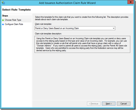 Select Rule Template to Add Issuance Authorization Claim Rule Wizard (click for original screenshot)