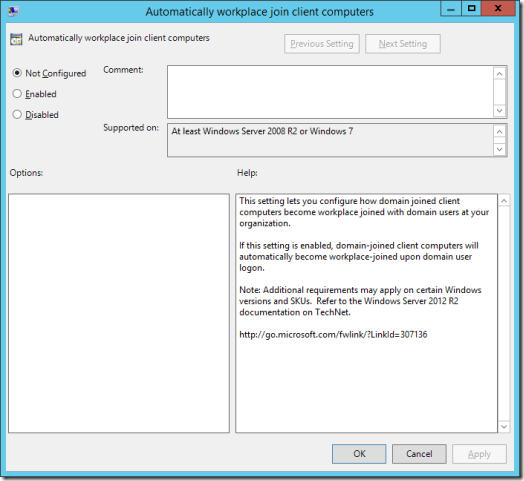 The Automatically Workplace Join Client Computers Group Policy Setting (click for original screenshot)