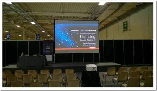 Calm before the session 'Ask me Anything on Licensing People-Centric IT (click for original photo)