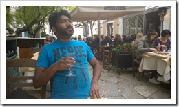 Adnan thinking on how to improve this trip next year while enjoying some white wine (click for larger photo)