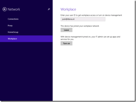 The ability to Leave in the WorkPlace settings in the New Control Panel of Windows 8.1 (click for original screenshot)