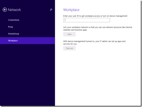 WorkPlace settings in the New Control Panel of Windows 8.1 (click for original screenshot)