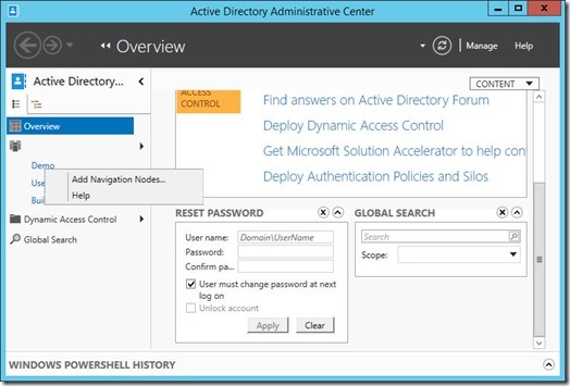 Add Navigation Nodes... context menu in the Active Directory Administrative Center (click for original screenshot)