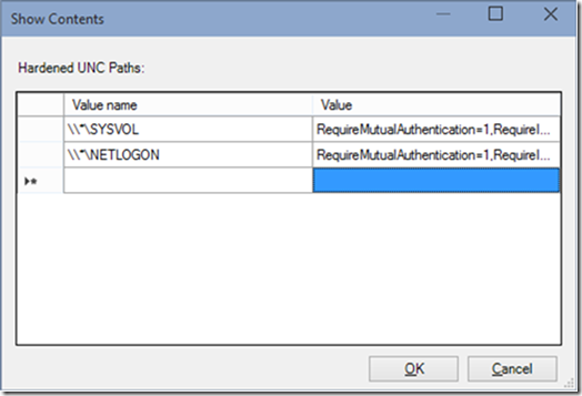 Show Contents for UNC Hardened Access in Group Policy