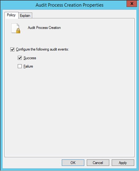 Enabling the Audit Process Creation Group Policy setting (click for original screenshot)