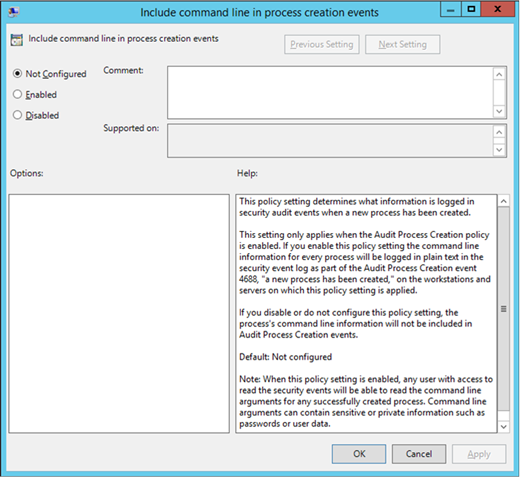 The Include command line in process creation events Group Policy setting (click for original screenshot)
