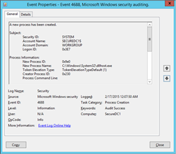 EventID 4688 before enabling the Include command line in process creation events Group Policy Setting (click for original screenshot)