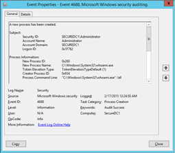 EventID 4688 after enabling the Include command line in process creation events Group Policy Setting (click for original screenshot)