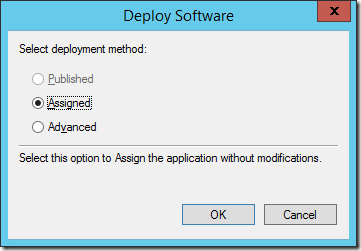 Assign a software package for Active Directory Software Installation (click for original screenshot)