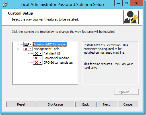 Default Installation Options for the Local Administrator Password Solution (click for original screenshot)