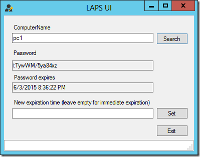 The LAPS User Interface displaying the password information for PC1 (click for original screenshot)