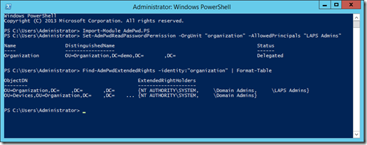 Set-AdmReadPasswordPermission and Find-AdmPwdExtendedRights in PowerShell (click for original screenshot)