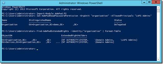Set-AdmReadPasswordPermission and Find-AdmPwdExtendedRights in PowerShell (click for original screenshot)