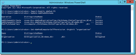 Update-AdmPwdADSchema en Set-AdmPwdComputerSelfPermission in PowerShell (click for original screenshot)