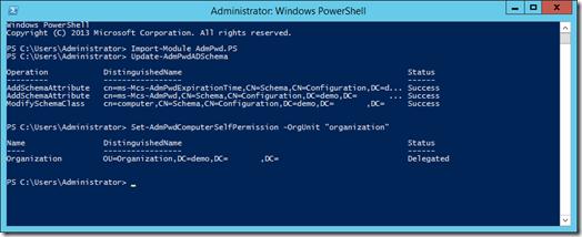 Update-AdmPwdADSchema en Set-AdmPwdComputerSelfPermission in PowerShell (click for original screenshot)