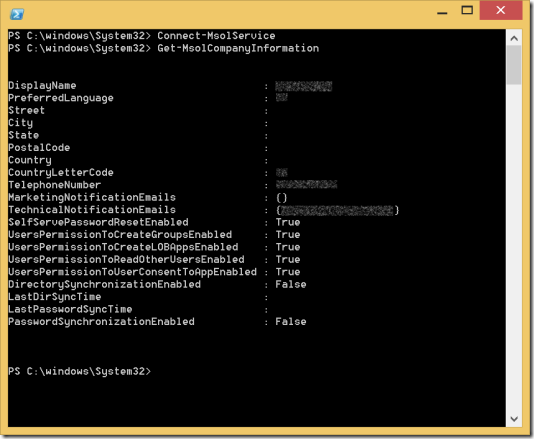 The Get-MSolCompanyInformation Windows PowerShell Cmdlet in action (click for the original, yet censored screenshot)