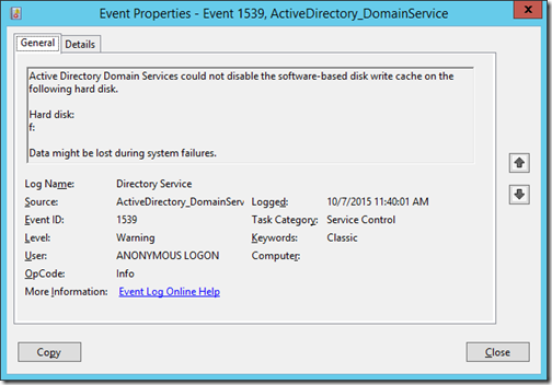 Event Properties - Event 1539, ActiveDirectory_DomainService (click for original screenshot)