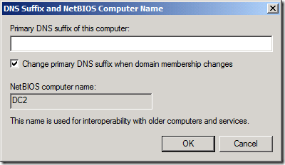 An empty DNS Suffix on a Domain Controller... You cannot make this stuff up (click for original screenshot)