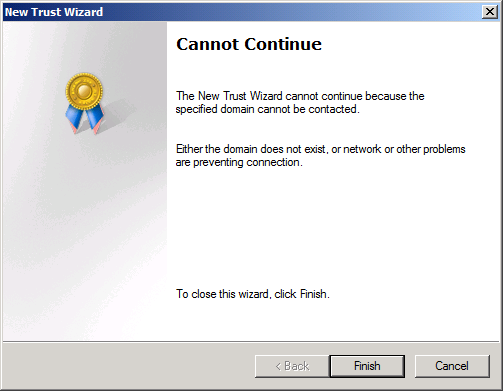 Active Directory Trust Cannot Continue error (click for original screenshot)