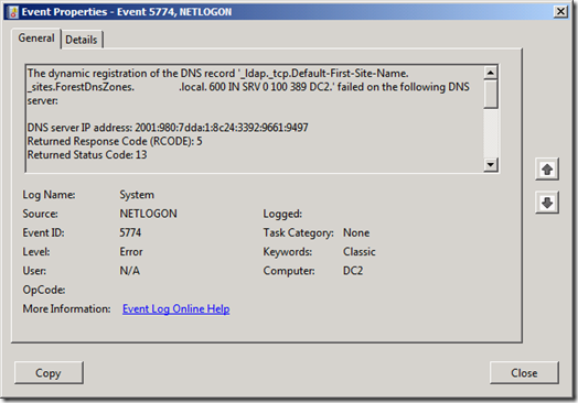 Event-ID 5744 with source NETLOGON (click for original screenshot)