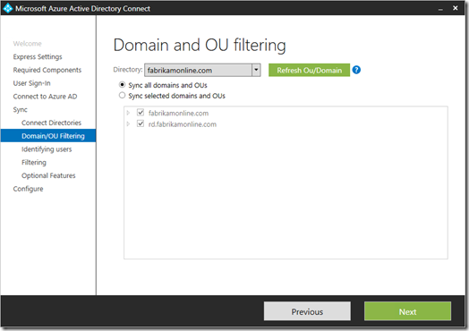 Domain and OU filtering in Azure AD Connect version 1.1.105.0 (click for original screenshot, provided by Microsoft)