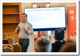 Presenting on Azure AD Connect's Express Settings (click for larger photo, courtesy of WinDays Event)