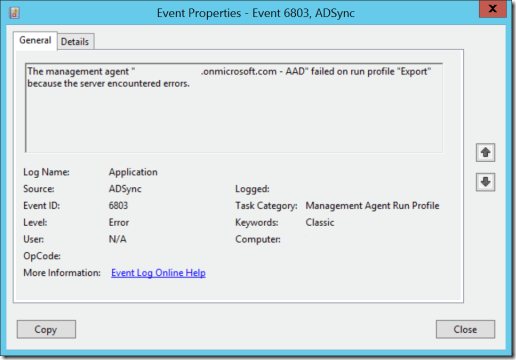 "EventID 6803 with source ADSync: The management agent failed on run profile ""Export"" because the server encountered errors."
